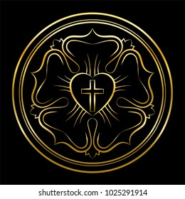 Martin Luther rose golden illustration on black background. Luther seal, symbol of Lutheranism, consisting of a cross, an heart, a single rose and a ring.