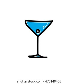 Martini cocktail colored freehand drawn doodle cartoon