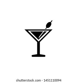 Martini Cocktail, Liquor Drink. Flat Vector Icon illustration. Simple black symbol on white background. Martini Cocktail, Liquor Drink sign design template for web and mobile UI element