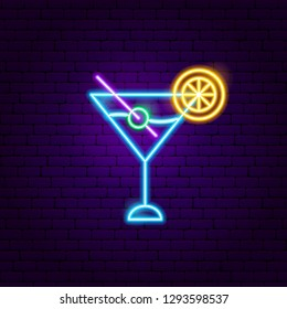 Martini Cocktail Neon Sign. Vector Illustration of Cafe Promotion.