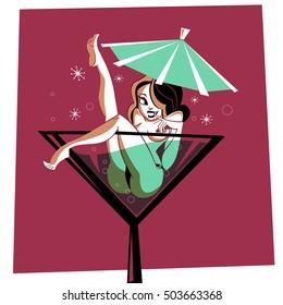 Martini Cocktail Pinup - illustration