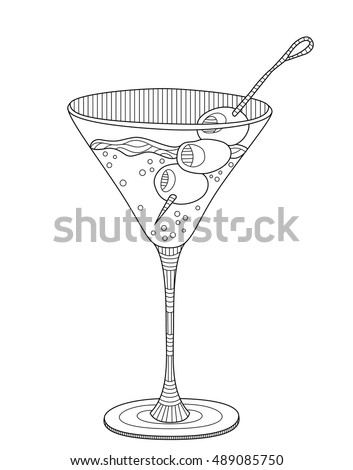 Martini Coloring Page For Adults In Zentangle Style