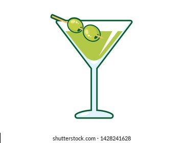 Martini drink with olive vector. Martini glass with olive icon. Glass of martini vector. Olive Martini cartoon