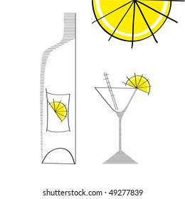 martini glass with bottle and lime