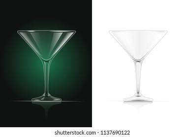 Martini glass. Cocktail goblet. Classic drink utensil. EPS10 vector illustration.
