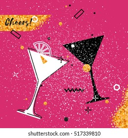 Martini glass with Gold Glitter element on pink background. Cheerful holiday. Alcoholic beverages. Party celebration. Vector illustration.