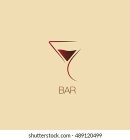 Martini glass. Icon, symbol, logo alcohol. For the menu, bar, restaurant, wine list. minimal.