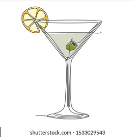 Martini glass with olive continuous one line drawing minimalism design isolated on white background