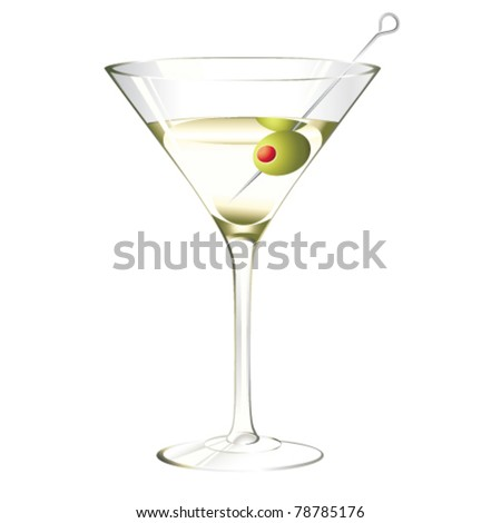Martini Glass Olive Isolated On White Stock Vector Royalty Free