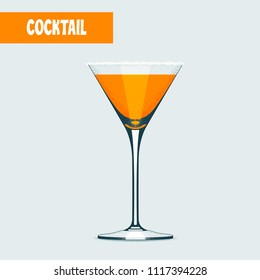 Martini glass with orange cocktail vector illustration. Poster, clipart, design element with traditional martini goblet