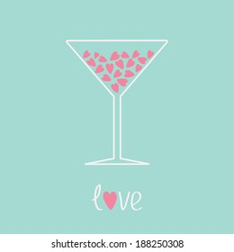 Martini glass with pink hearts inside. Love card. Vector illustration.