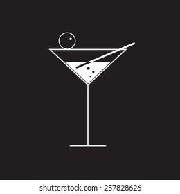 martini glass vector on black