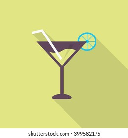 Martini icon , Vector flat long shadow design.
