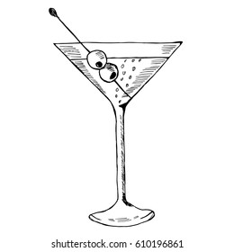Martini with olive in glass hand drawn ink sketch, isolated. Alcoholic cocktails sketch elements illustration.
