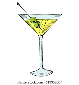 Martini with olive in glass hand drawn ink sketch, isolated, in color. Alcoholic cocktails sketch elements illustration.