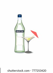 Martini on white background