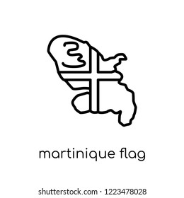 Martinique flag icon. Trendy modern flat linear vector Martinique flag icon on white background from thin line Country Flags collection, editable outline stroke vector illustration