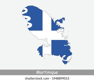 Martinique Map Flag. Map of Martinique with flag isolated on white background. Overseas department, region and single territorial collectivity of France. Vector illustration.