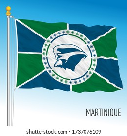 Martinique official national flag, french territory, vector illustration