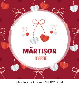 Martisor hearts trinket vector card, illustration. March 1st holiday of spring in Romania and Moldova.