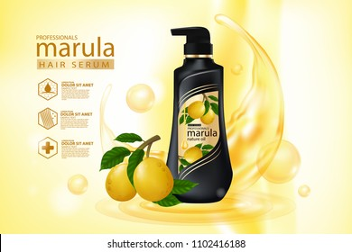 marula oil hair care protection contained in bottle ,golden background 3d illustration