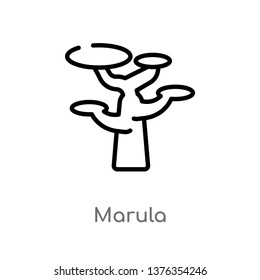 marula vector line icon. Simple element illustration. marula outline icon from africa concept. Can be used for web and mobile