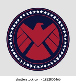 Marvel Shield vector blue and red color