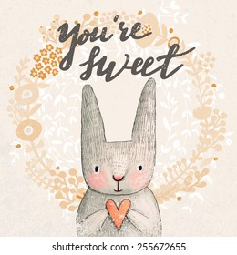 Marvelous card with sweet rabbit holding heart. Awesome background made in watercolor technique. Pastel colored easter concept card with text in vector