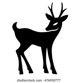 Marvelous fawn with interest looks aside (silhouette), design for Xmas cards, banners and flyers, vector illustration isolated on white background