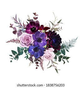 Marvelous violet, purple and burgundy anemone, dusty mauve and lilac rose,dark dahlia, astilbe,eucalyptus vector design bouquet.Stylish fall wedding bunch of flowers.Elements are isolated and editable