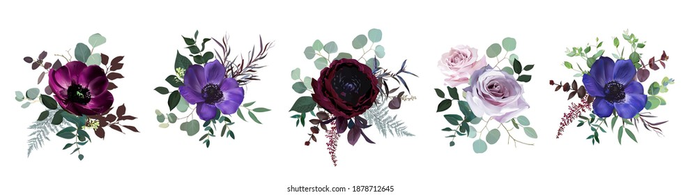 Marvelous violet, purple and burgundy anemone, dusty mauve and lilac rose, dark ranunculus, astilbe, eucalyptus vector design bouquets. Stylish fall wedding bunch of flowers. Isolated and editable