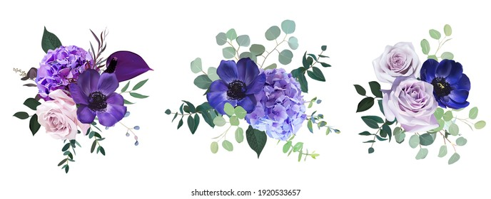 Marvelous violet, purple and burgundy anemone, dusty mauve and lilac rose, hydrangea, eucalyptus vector design bouquets. Stylish fall wedding bunch of flowers.Elements are isolated and editable