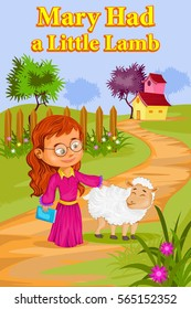 Mary Had A Little Lamb, Kids English Nursery Rhymes book illustration in vector