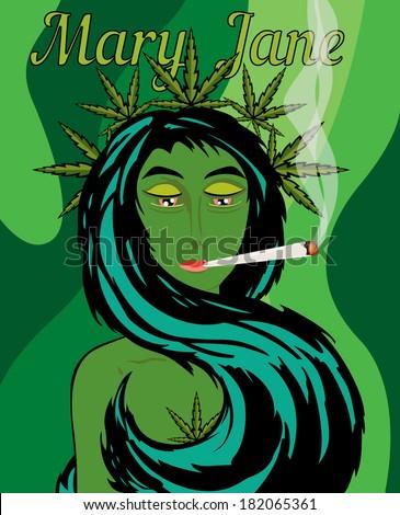 mary jane marijuana girl character vector เวกเตอร สต อก ปลอดค า