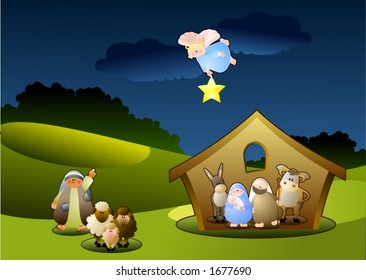 Mary, Josef and baby Jesus seek shelter in a little manger.