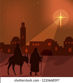 Mary, Joseph and donkey silhouettes on the way to Bethlehem, with a large bright star shining in a orange, golden illuminated sky, vector illustration.
