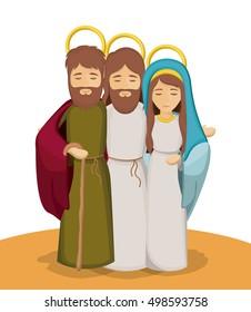 Mary joseph and jesus cartoon design