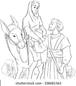 Mary and Joseph travelling by donkey to Bethlehem. Coloring page. Also available colored version