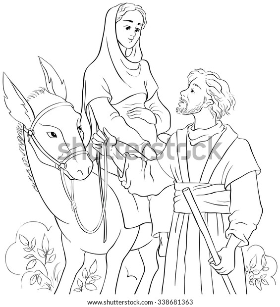 Joseph And Mary And The Donkey Travel To Bethlehem Coloring Pages ... | 620x565
