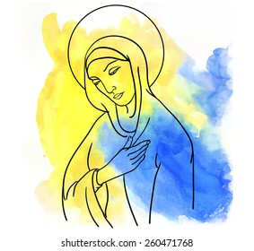 Mary Magdalene  on watercolor  background
