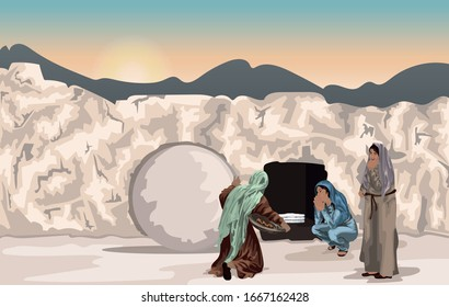 Mary Magdalene and Other Women At Jesus' Tomb with Rolled Away Stone And Folded Grave Clothes - Easter Story