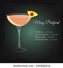 Mary Pickford alcohol cocktail vector