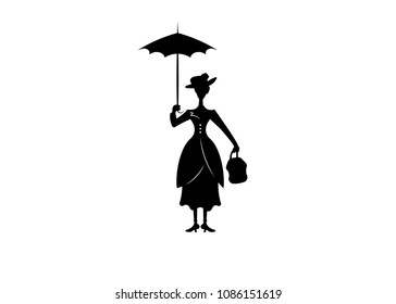 Mary Poppins style. Silhouette girl floats with umbrella in his hand, vector isolated or white background