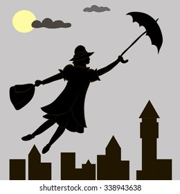 Mary Poppins vector in the sky with an umbrella