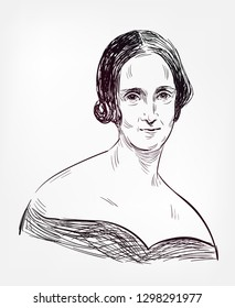 Mary Shelley vector sketch illustration portrait