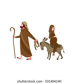 Mary travels with Joseph to Bethlehem,  the pregnant woman rides on a donkey, holy family, christmas illustration isolated on white background.