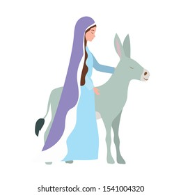 mary virgin with mule manger characters vector illustration design