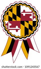 Maryland Award Ribbon vector in the original national colours red, white, yellow and black. Representing State of Maryland in USA.