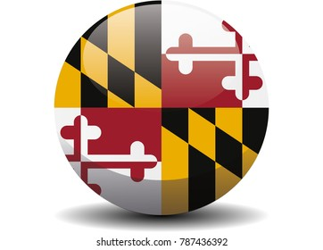 Maryland circle button flag background texture. Vector illustration.