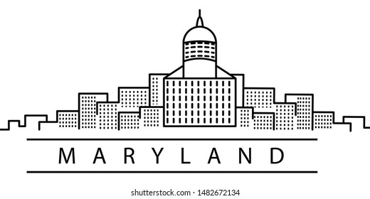 Maryland city line icon. Element of USA states illustration icons. Signs, symbols can be used for web, logo, mobile app, UI, UX